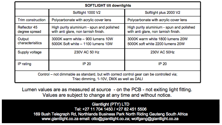 12.1 Softlight tilt downlight specs